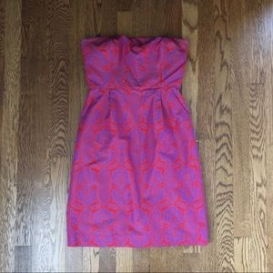 J. crew Strapless red and purple paisley dress